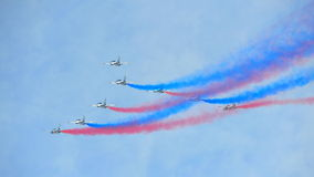 Aerobatic flying display by Black Eagles from the Republic of Korean Air Force (ROKAF) at Singapore Airshow Stock Photo