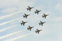 Aerobatic flying display by Black Eagles from the Republic of Korean Air Force (ROKAF) at Singapore Airshow Stock Images