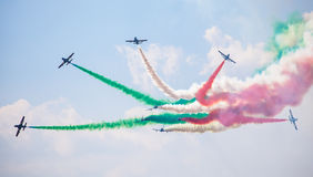 Aerobatic group Frecce Tricolori. SLIAC, SLOVAKIA - AUGUST 29: Aerobatic group Frecce Tricolori at International air fest SIAF 2015 at airport Sliac on August 29 Royalty Free Stock Photo