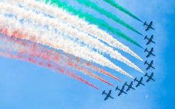 Aerobatic group Frecce Tricolori. SLIAC, SLOVAKIA - AUGUST 29: Aerobatic group Frecce Tricolori at International air fest SIAF 2015 at airport Sliac on August 29 Royalty Free Stock Images