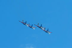 Aerobatic group military fighters Royalty Free Stock Image