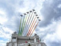 Aerobatic italienisches Team der Flugschau Stockbild