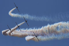 Aerobatic jet planes. Performing maneuvers during an air show stock photo