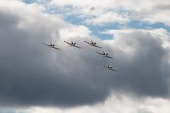 Aerobatic L-39 aircraft. Russian Aerobatic team RUSS show, L-39 aircraft Stock Photos