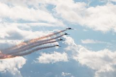 Aerobatic L-39 aircraft. Russian Aerobatic team RUSS show, L-39 aircraft Royalty Free Stock Photos