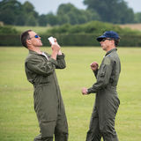 Aerobatic pilots, ground walk through Stock Photo