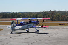 Aerobatic Stunt Pilot and Airplane Stock Photo