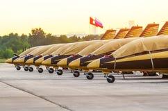 Aerobatic Team Al Fursan-Flugzeuge moskau Flughafen Zhukovsky 20. JULI 2017 Lizenzfreie Stockbilder