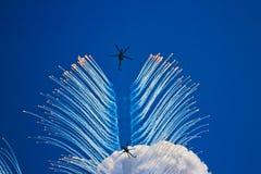 Aerobatic team `Berkut`. Voronezh, demonstration performances royalty free stock images