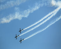 Aerobatic team, demonstration during the International Aerospace Exhibition ILA Berlin Air Show-2014. Stock Photos