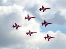 Aerobatic Team der Düsenflugzeug von Suisse Lizenzfreie Stockfotos