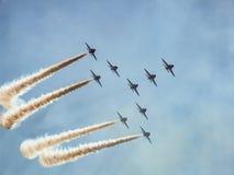 Aerobatic Team der FalkeDüsenflugzeug Stockbild