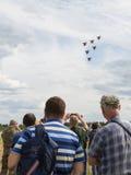 Aerobatic Team des Fluges sechs MiG-29 Swifts Lizenzfreie Stockfotos