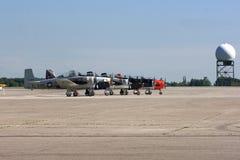 Aerobatic Team. HAMILTON, ONTARIO/CANADA - JUNE 15, 2014: Aircrafts T-58 Trojan Trainer of Aerobatic Team Trojan Horsemen ready to perform on Organized from Stock Images