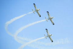 Aerobatic team  during the International aviation and space exhibition ILA-2014. Royalty Free Stock Images