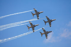Aerobatic team, jets with smoke. Airshow royalty free stock photography