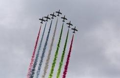 Aerobatic team making loopings in the air Royalty Free Stock Photo