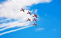 Aerobatic team making loopings in the air. Sky stock photography