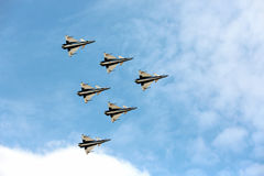 Aerobatic Teampiloten F16 Gripen und des 1. August Stockbilder