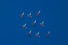 Aerobatic Teams in der Rautenformation Stockbild