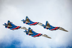 Aerobatic teams Russian Knights (vityazi) on planes MiG-29 on th Royalty Free Stock Photos