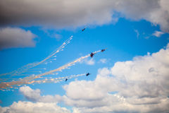 Aerobatic teams Russian Knights (vityazi) on planes MiG-29 on th Royalty Free Stock Photos