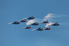 Aerobatic teams Swifts and Russian Knights Stock Image