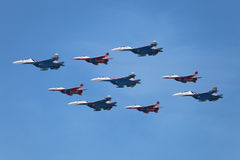 Aerobatic teams Swifts and Russian Knights Royalty Free Stock Image
