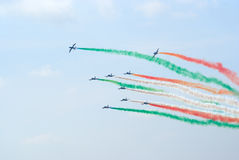 Aerobatics. Group of Aermacchi MB-339 planes on the airshow Stock Photography
