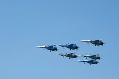 Aerobatics aircrafts Su-27 Stock Image
