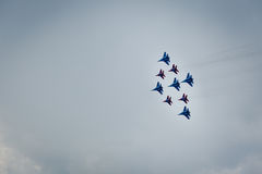 Aerobatics group of fighters Royalty Free Stock Photos