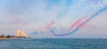 Aerobatics over Doha Bay Royalty Free Stock Image