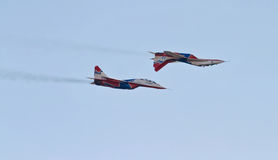 Aerobatics performed by aviation group of aerobatics Military-ai Stock Images