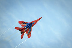 Aerobatics performed by aviation group of Military-air forces Royalty Free Stock Images