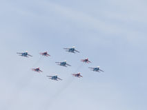 Aerobatics Su-27 and Mig-29 Stock Photo