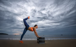 Aerobic on the beach Stock Images