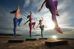Aerobic on the beach Royalty Free Stock Image