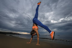 Aerobic on the beach Stock Photography