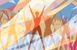Aerobic color. Colorful editable vector illustration of women doing aerobic dance exercise together Royalty Free Stock Photos