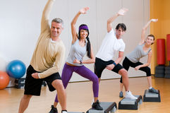 Aerobic exercises at gym Royalty Free Stock Image