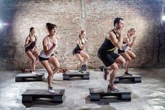 Aerobic. Group of people on aerobic training royalty free stock photos