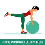 Aerobic icons. Ball exercise Royalty Free Stock Image