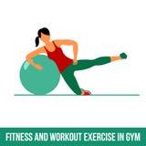 Aerobic icons. Ball exercise Royalty Free Stock Photos