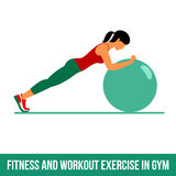 Aerobic icons. Ball exercise Royalty Free Stock Images