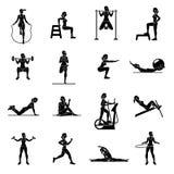 Aerobic icons. 4x4. black royalty free illustration
