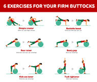 Aerobic icons. Firm buttocks. Firm buttocks. Fitness, Aerobic and workout exercise in gym. Vector set of workout icons in flat style  on white background Stock Photos