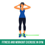 Aerobic icons. RESISTANCE BAND. Workout WITH RESISTANCE BAND. Fitness, Aerobic and workout exercise in gym. Vector set of workout icons in flat style  on white Royalty Free Stock Images