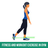 Aerobic icons. RESISTANCE BAND. Workout WITH RESISTANCE BAND. Fitness, Aerobic and workout exercise in gym. Vector set of workout icons in flat style  on white Stock Images