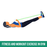 Aerobic icons. RESISTANCE BAND. Workout WITH RESISTANCE BAND. Fitness, Aerobic and workout exercise in gym. Vector set of workout icons in flat style  on white Royalty Free Stock Photo