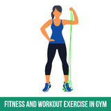 Aerobic icons. RESISTANCE BAND. Workout WITH RESISTANCE BAND. Fitness, Aerobic and workout exercise in gym. Vector set of workout icons in flat style  on white Royalty Free Stock Image